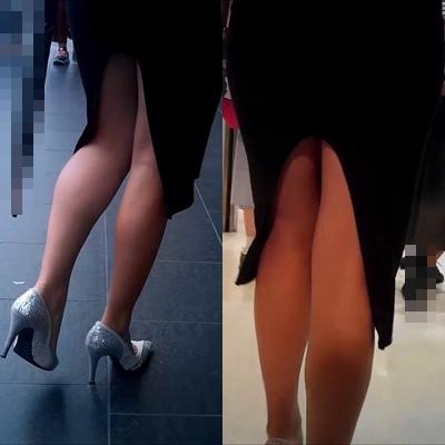 いやらしい脚で街を歩くセクシーなお姉さん
